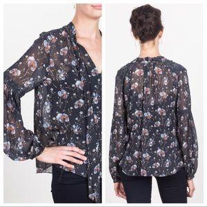 Ulla Johnson Mimi 100% silk floral blouse size 2